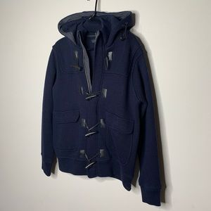 Zara Man navy wool hooded toggle pea coat